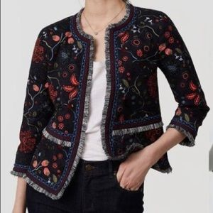 LOFT embroidered blazer/ jacket size 8